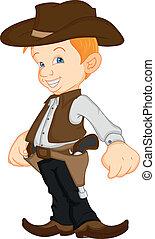Ein Junge, der Cowboy-Kostüm trägt.