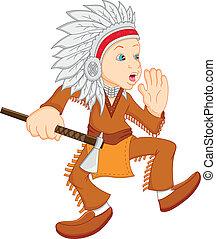 Ein Junge, der ein amerikanisches indianisches Kostüm trägt.