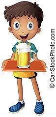 Ein Junge, der ein Tablett mit einem Becher Bier hält