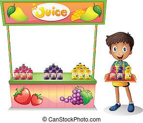 Ein Junge, der Obstsaft verkauft