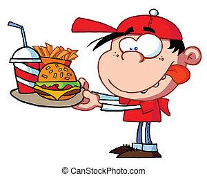 Ein Junge, der schnell isst