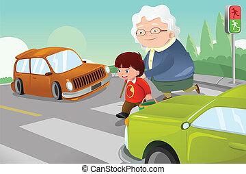 Ein Junge, der Senior Lady hilft, die Straße zu überqueren