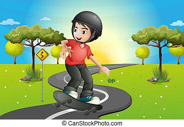 Ein Junge, der Skateboard fährt