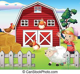 Ein Junge im Bauernhaus mit Tieren