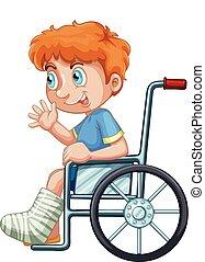 Ein Junge im Rollstuhl.
