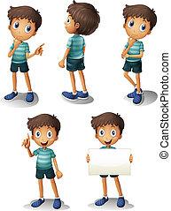 Ein Junge in verschiedenen Positionen