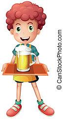 Ein Junge mit einem Becher voll kaltem Bier