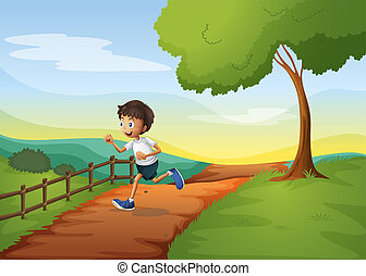 Ein Junge rennt