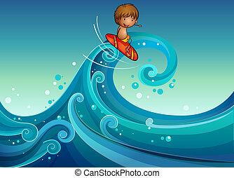 Ein Junge surft