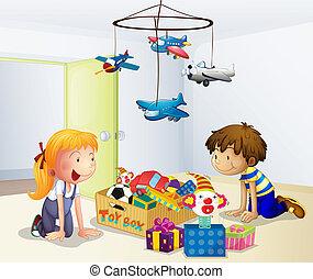 Ein Junge und ein Mädchen spielen im Haus
