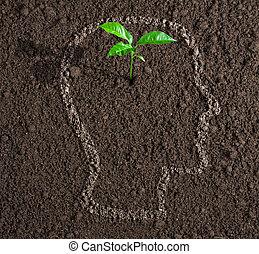 Ein junges Bewusstseinswachstum in einem menschlichen Umweg auf dem Boden