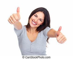 Ein junges, glückliches Frauenporträt.