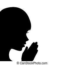 Ein junges Mädchen, das betet