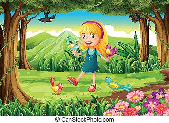 Ein junges Mädchen im Wald mit Vögeln.