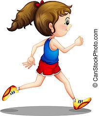 Ein junges Mädchen rennt