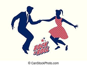 Ein junges Paar, das 50er Kleider trägt und Rock and Roll tanzt. Vector Illustration