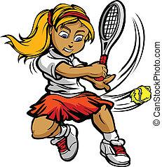Ein junges Tennisspieler-Mädchen schwingt Racquet auf dem Ball
