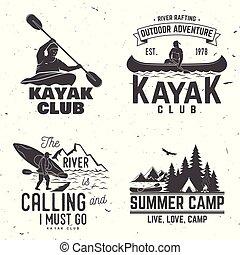 Ein Kajak-Club-Abzeichen. Vector Illustration.