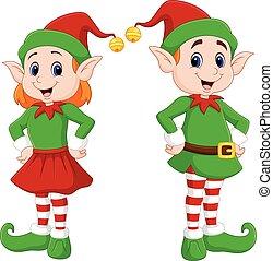 Ein Kartoon von einem glücklichen Weihnachtselfenpaar.