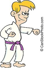 Ein Kartoonjunge in einer Karate-Uniform.