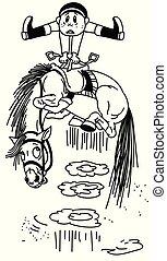 Ein Kartoonpferd wirft einen Fahrer ab