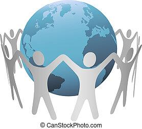 Ein Kettenring von Menschen auf dem Planeten Erde