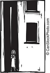 Ein Kind allein in der Gasse