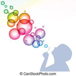 Ein Kind bläst Blasen. Vector Hintergrund