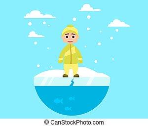 Ein Kind, das auf Eis läuft