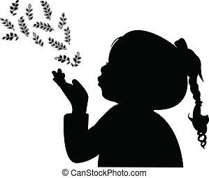 Ein Kind, das Blätter verteilt, Silhoue