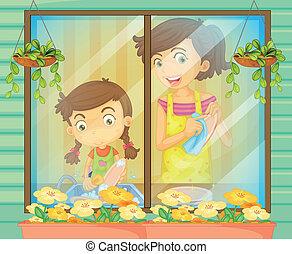 Ein Kind, das ihrer Mutter beim Abwasch hilft