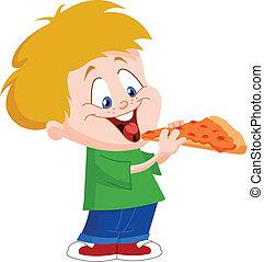 Ein Kind, das Pizza isst