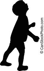 Ein Kinderkopf, der nach oben schaut, Silhouette.