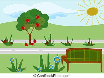 Ein kindlicher Cartoon Park