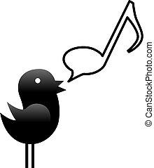 Ein kleiner Tweet Vogel singt eine Nachricht