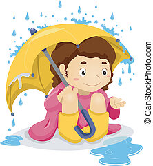 Ein kleines Mädchen, das unter dem Regenschirm sitzt