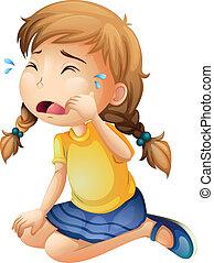 Ein kleines Mädchen, das weint.