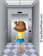 Ein kleines Mädchen im Aufzug