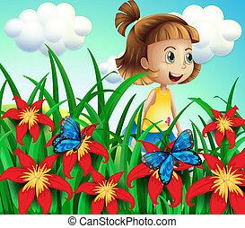 Ein kleines Mädchen im Blumengarten mit Schmetterlingen