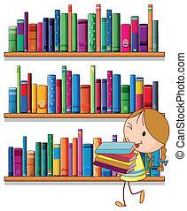 Ein kleines Mädchen in der Bibliothek