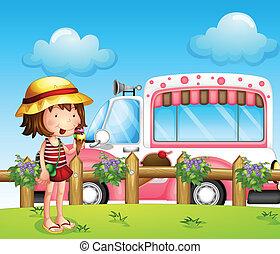 Ein kleines Mädchen und der Eisbus
