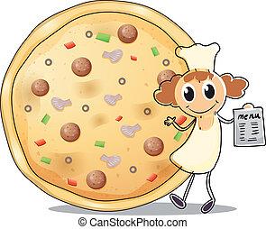 Ein Koch vor einem Pizzakuchen