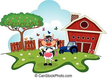 Ein Kuh-Cartoon auf einer Farm.
