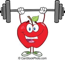 Ein lächelnder Apfel hebt Gewichte