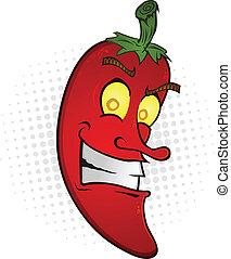 Ein lächelnder Chili-Pfeffer- Cartoon
