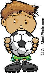 Ein lächelnder Football-Junge mit Fußball.