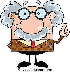 Ein lächelnder Professor mit einer Idee