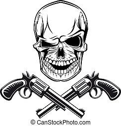 Ein lächelnder Schädel mit Revolvern