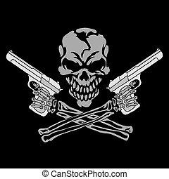 Ein lächelnder Schädel mit Waffen.