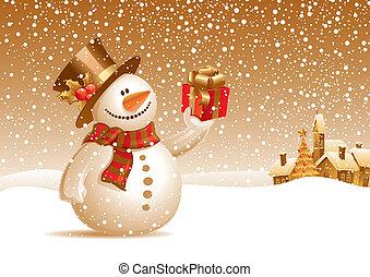 Ein lächelnder Schneemann mit Geschenk auf einer Weihnachtslandschaft - Vektor Illustration
